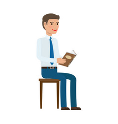 Businessman reading book at chair flat vector