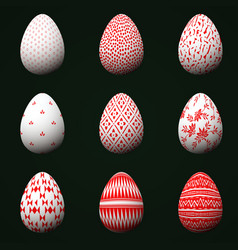 collection of easter eggs with red patterns vector image vector image