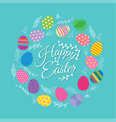Colorful eggs with flowers for easter day vector