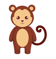 Cute and tender monkey character vector