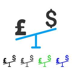 Dollar pound swing flat icon vector