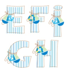 Fabric patchwork alhabet letter e f g h i vector
