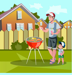 Family enjoying barbecue outdoors vector