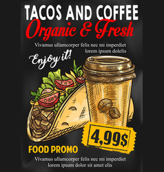 Fast food tacos coffe price sketch poster vector