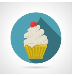 Flat color icon for tasty cupcake vector image