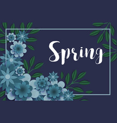 Flowers paper spring banner cut out floral origami vector