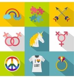Gender minorities icons set flat style vector