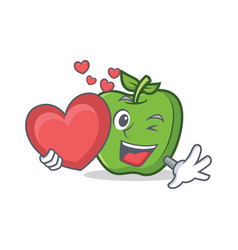 Green apple character cartoon with heart vector