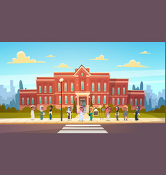group of arab pupils stand in front of school vector image vector image