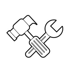 hammer and wrench tool repair support instrument vector image