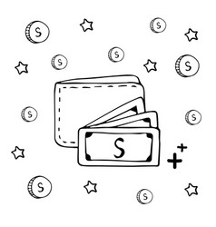 Hand drawn wallet and cash money coin vector