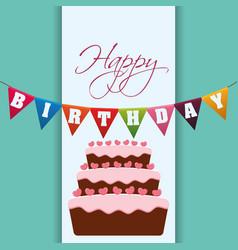 Happy birthday cake garland decoration vector