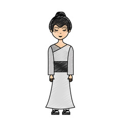 japanese geisha character icon vector image