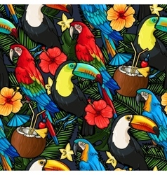 Macaw and tropical cocktail seamless vector image vector image
