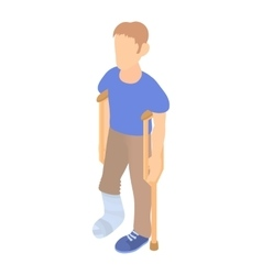Man with crutches and a plaster on broken leg icon vector
