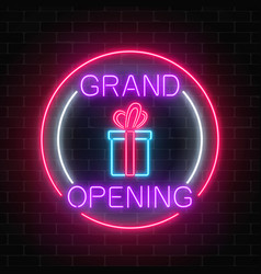 Neon new store grand opening with lottery and vector
