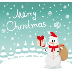 Postcard Snowman and snow vector image