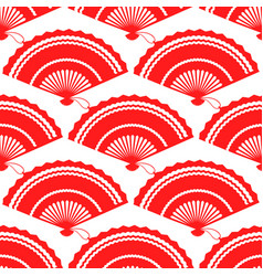 red fan seamless pattern design vector image