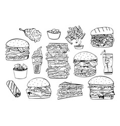 set of fast foodhand drawn vector image
