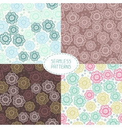 Set of seamless floral patterns Beautiful vector image vector image
