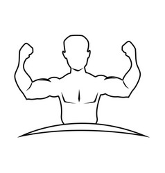 silhouette half body muscle man vector image