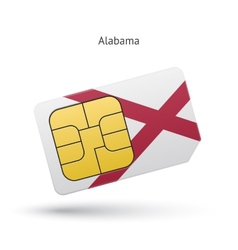 State of alabama phone sim card with flag vector