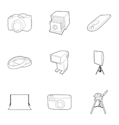 Taking photo icons set outline style vector