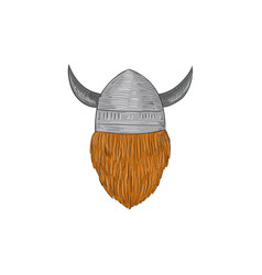 Viking warrior head rear view drawing vector
