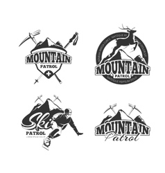 Vintage ski mountain patrol emblems labels vector