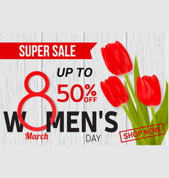 Womens day sale design for web banner flyer or vector