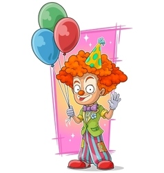 Cartoon happy redhead clown with balloons vector image