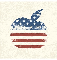 American flag apple shaped vector