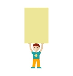 Cute boy character holding blank message board vector