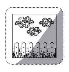 figure wood grid with cloud and grass icon vector image