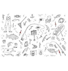 hand drawn fishing setfishing stuff in doodle vector image