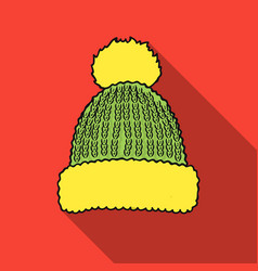 Knit cap icon in flate style isolated on white vector