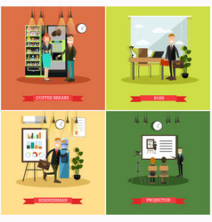 Set of business people posters in flat vector