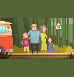 grandparents and grandchildren cartoon composition vector image