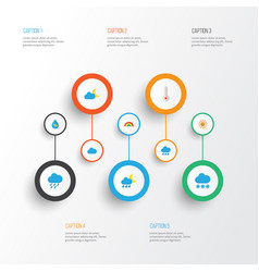 Air flat icons set collection of temperature sun vector