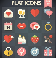 Valentines day flat icons for applications vector