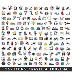 165 colors icons travel and tourism vector