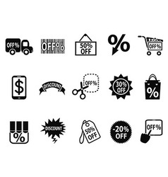 Black discount icons set vector