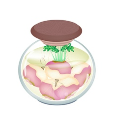 Jar of pickled turnip with malt vinegar vector