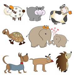 Funny animals cartoon set isolated on white vector