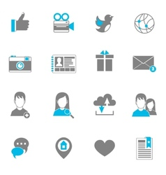 Social icons flat set vector