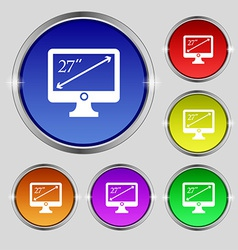 Diagonal of the monitor 27 inches icon sign round vector