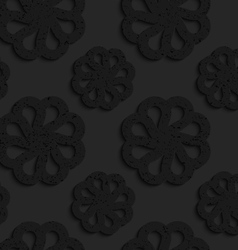 Black textured plastic flowers with rim vector