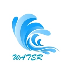 Wave symbol with flowing and curving water vector