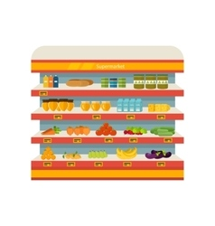 Shop supermarket interior shelf with fruits vector