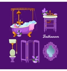Interior objects for a bathroom vector